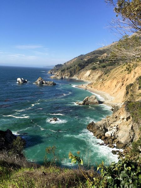 Julia Pfeiffer State Park at Big Sur. Sea Scenics Nature Beauty In Nature Water Tranquility Tranquil Scene Outdoors Sky Landscape Day No People Horizon Over Water Mountain Big Sur CALIFORNIA Big Sur Ocean Cliffs Cliffside