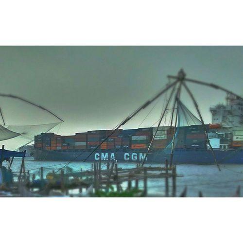 Container ship-Tilt Shift (boat series 1) Port Shipleavingport Containership Chinesenets Kochiport Kochi Arabiansea Dockyard Evening RainIsComing Motog Ship Tiltshift Miniature Clouds Darkclouds Darksky Rain