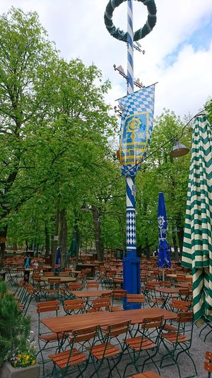 May pole at the Augustiner beergarden Munich. · München Munich Bavaria Germany 089 Augustiner Augustiner-Keller Augustiner-biergarten Maibaum May Pole Rituals Tradition May Beergarden  Biergarten Chairs Outdoors No People (yet)