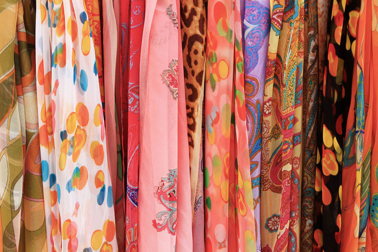Full frame shot of colorful scarves for sale in clothing store