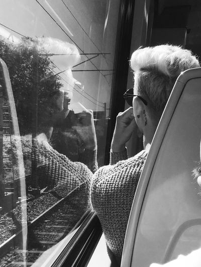 Blackandwhite Commute Train Refection One Person Real People Glass - Material Transparent Reflection Lifestyles Leisure Activity Day Standing Looking Young Men Young Adult Portrait Men Indoors  Window Casual Clothing Adult The Portraitist - 2019 EyeEm Awards