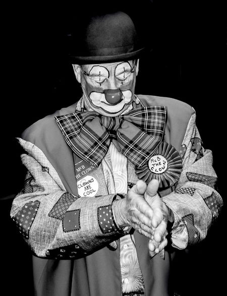 Clown in black and white on dark background Dark Fun B&w Black And White Clown Clowns Comedy Dark Background Funny Faces Grimaldi Painted Faces
