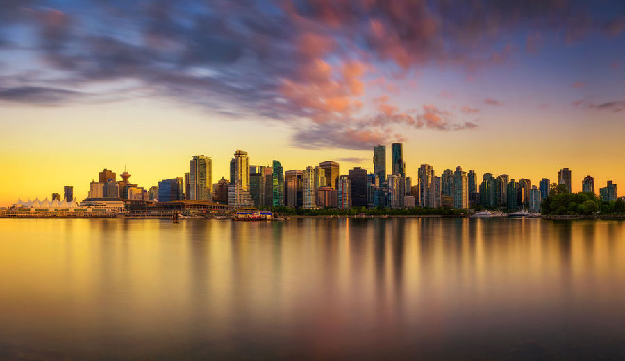 Scenic view of sea and buildings against sky during sunset
