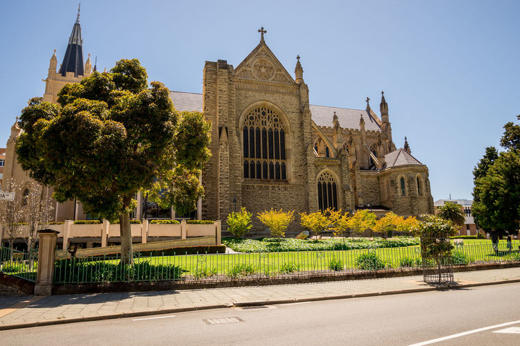Side view of St Mary's Cathedral in Perth City, Western Australia Architecture Australia CBD Cathedral Center Christianity Church City God Perth Pray Scenic Spectacular St Mary View Worship Attraction Building Park Religion Restored Tourism Travel Destinations Visit Western