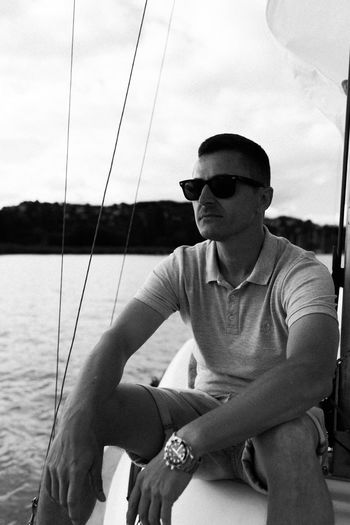 Boat life Balaton Blackandwhite Photography Boat Canonphotography Casual Clothing EyeEm Gallery Hungary Lake Leisure Activity Lifestyles Men Outdoors Protection Safety Sail Seamaster Self Portrait Sitting Sky Summerend Sunglasses TeamCanon People And Places Weekend Activities Young Adult