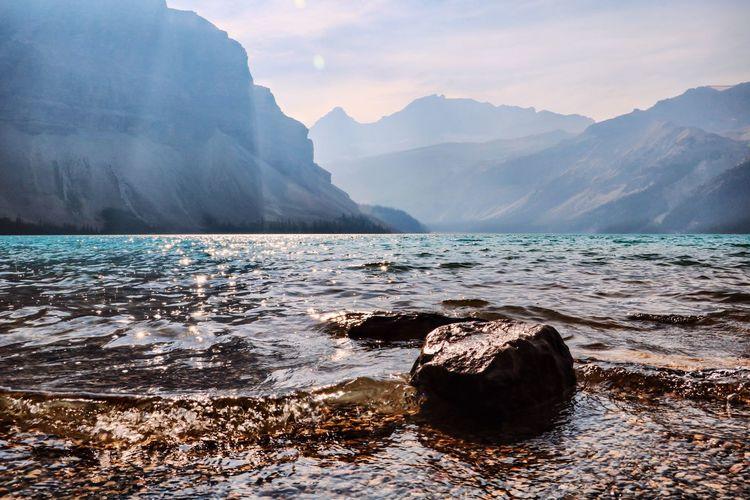 Alberta Canada Bow Lake Beauty In Nature Canada Idyllic Mountain Mountain Range Nature Outdoors Rock Scenics - Nature Tranquil Scene Tranquility Water