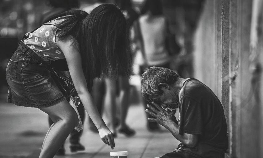 Beggar inthailand Beggar Help Homelessman Bangkok Thailand. Man Girl Pepole Traffic Jam Outdoors Working Street
