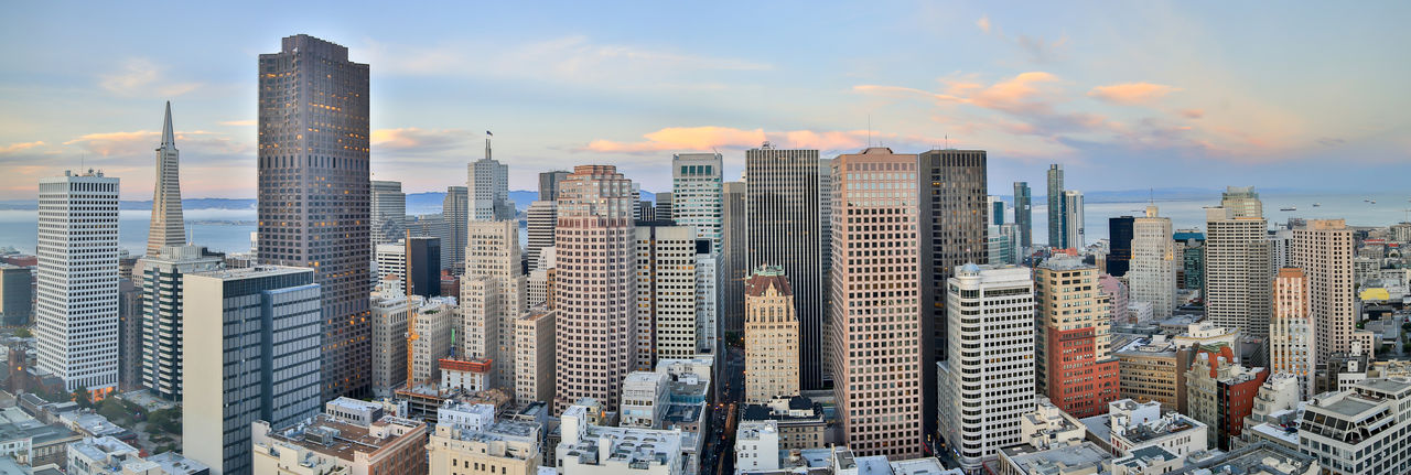 San Francisco Skyline Panorama. Financial District skyscrapers at dusk. Building Exterior City Built Structure Building Architecture Office Building Exterior Skyscraper Sky Cityscape Modern Tall - High Cloud - Sky Urban Skyline Landscape Tower Office Nature No People Residential District Downtown District Outdoors Financial District  San Francisco Panorama Panoramic