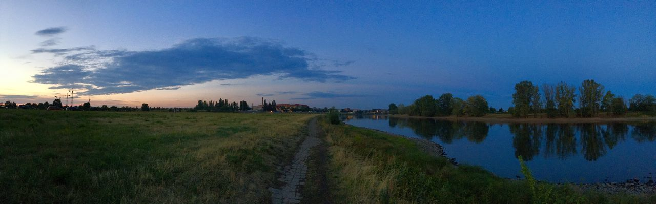 Elbe River Riverside Architecture Building Exterior Built Structure City Cloud - Sky Dusk Landscape Nature No People Outdoors Panoramic Plant Reflection Scenics - Nature Sky Sunset Tranquil Scene Tranquility Tree Water