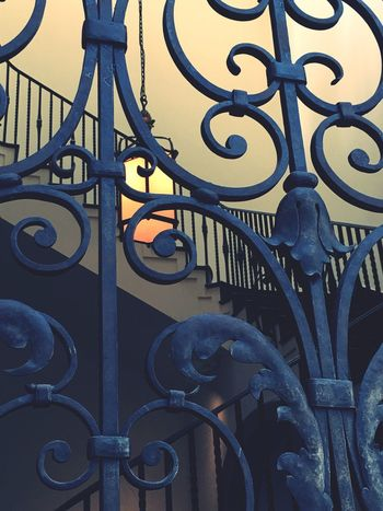 Railing Metal Wrought Iron Design Blue Iron - Metal Creativity Outdoors Balustrade No People