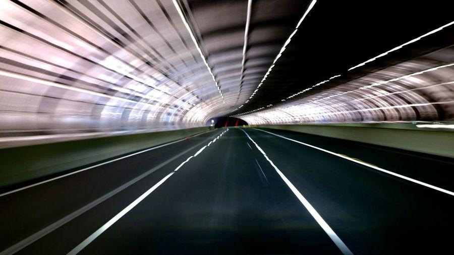 Blurred Motion Of Illuminated Subway Station