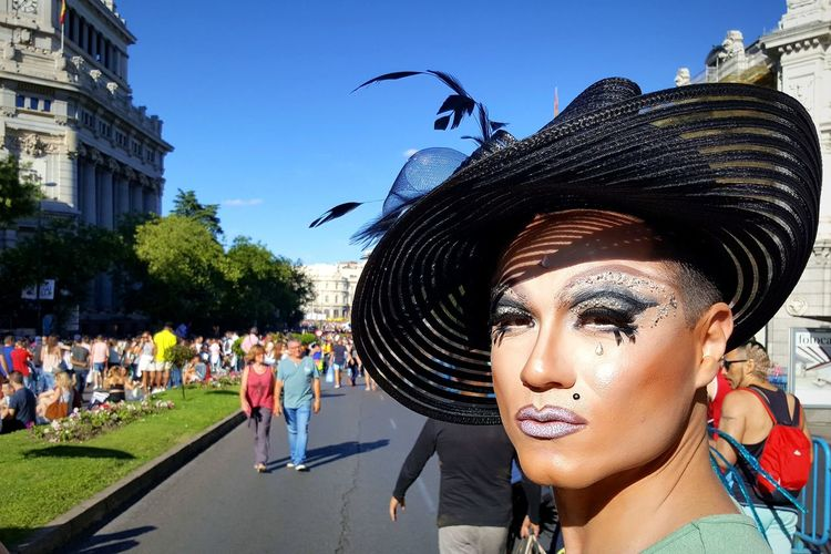 Madrid, Spain Madrid Arts Culture And Entertainment Adult Headshot Outdoors Sky Young Adult Gay Pride World Pride 2017 World Pride Gay Pride Drag Drag Queen Dragqueen  Love Is Love