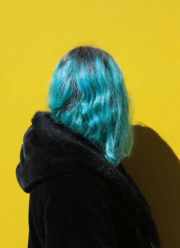 BLUE HAIRED GIRL Black Blue Hair Day High Contrast One Person Rear View Yellow Yellow Background