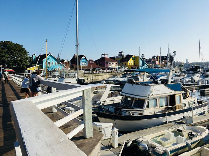 Long Beach California Pier Shops Boating Sky Clear Sky Nature Day Sunlight Water Incidental People Architecture Outdoors Built Structure Beach Blue Leisure Activity Building Exterior Lifestyles