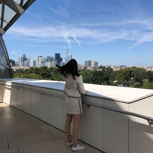 Summer Style Fashion Modern Sky Building Exterior Architecture Built Structure One Person Rear View Full Length City Nature Day Lifestyles Real People Cloud - Sky Standing Women Leisure Activity Cityscape Outdoors