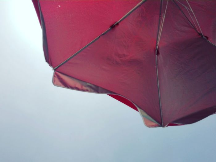 Sky Summer Summertime Umbrella Beach Nature Nature_collection Red Red Color Summer Vibes Sky Close-up Umbrella Under Sandy Beach Parasol Sand