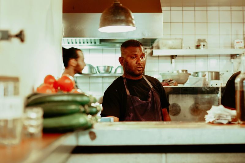 Kitchen Indoors  Real People Food And Drink Men Lifestyles Two People Food People Restaurant Business Commercial Kitchen Adult Males  Table The Art Of Street Photography