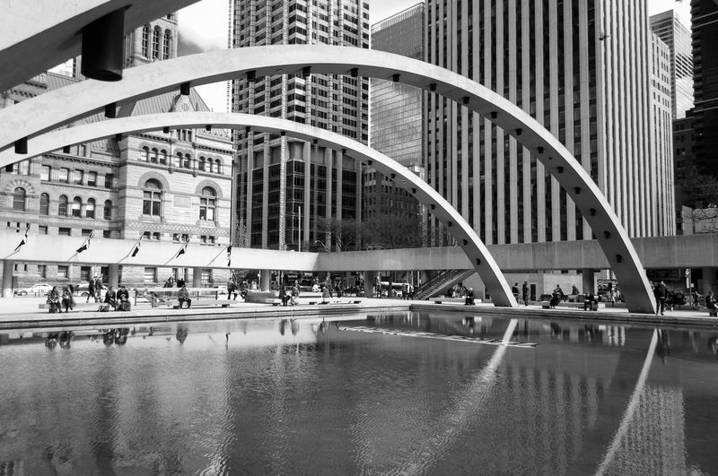 Down Town Toronto, Canada. Architecture Black And White Building Exterior Built Structure City City Hall Day Downtown Dundas Square, Modern Ontario Outdoors Skyscraper Toronto