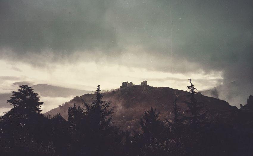Nature Tranquility Low Angle View Mountain Cloud - Sky Landscape Sion Valais Switzerland Ig_wallis Ig_europe Igers Igersswitzerland Valere Tourbillon