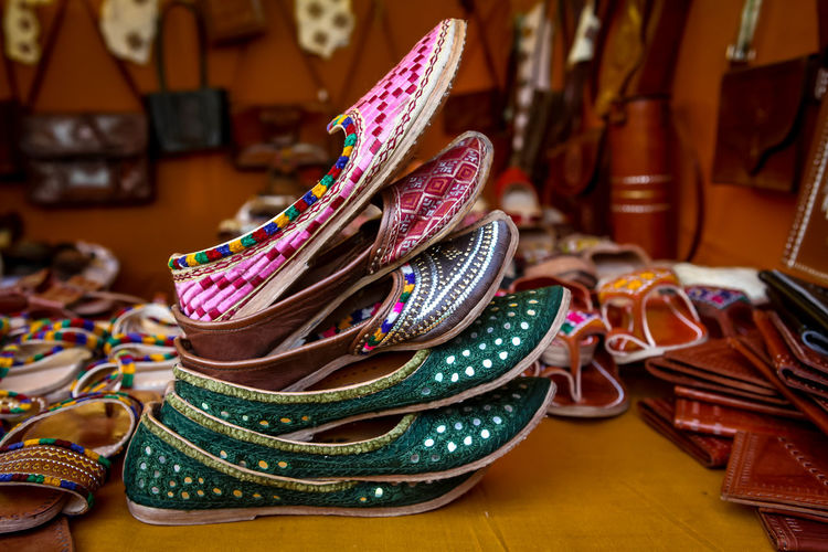 Art And Craft Fashion Shoe Cultures Close-up Pattern Traditional Craft Handmade Handicraft India No People Rajasthan Stall Fashion Sale Market Shop Nearby Around You