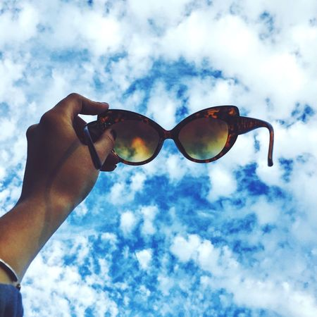 Sky Sunglasses Blue Cloud - Sky Blue Sky Clouds Low Angle View Outdoors Dreaming Day One Person IPhoneography Travel Nature Discover  Wandering EnjoytheNewNormal Summer Exploratorium