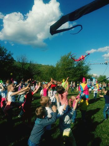 People Large Group Of People Crowd Cloud - Sky Arts Culture And Entertainment Celebration Tree Day Leisure Activity Excitement Outdoors Enjoyment Togetherness Kites Zadonsk Children Happiness ♡ Laughing