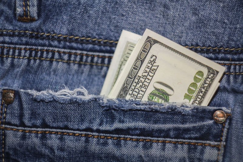 American 100 dollar bills in the back pocket of blue jeans Blue Jeans 100 Dollars Banknotes Banknotes &Coins Business Currency Jeans Money Money Money Background Banking Banknote Bill Cash Coin Dollars Finance Hundred Dollars Jeans Money Money In Pocket Pocket  Savings Success