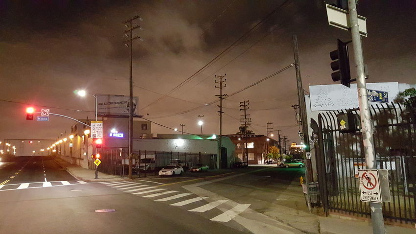 Streets of LA Transportation Street Illuminated Building Exterior City Architecture Built Structure Railroad Track City Street Night Sky Power Line  City Life Cloud - Sky Outdoors