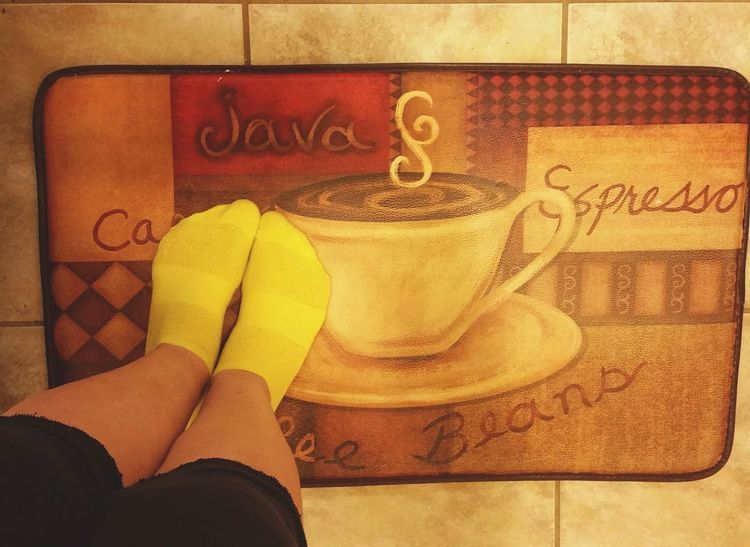 Good morning dear friends! Happy Monday! Have a cup! ☕☕☕🤗🤗🤗And have a great day! Person High Angle View Human Foot Text Floor Mat Coffee Time Coffee Foot Selfie People Eyemphotos Colorful Kitchen Things Eyemphotography Popularphotos