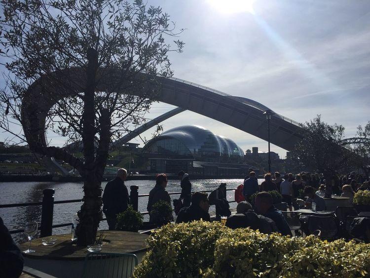 Flipped Scenes Bridge Newcastle Upon Tyne Quayside Market Sunday