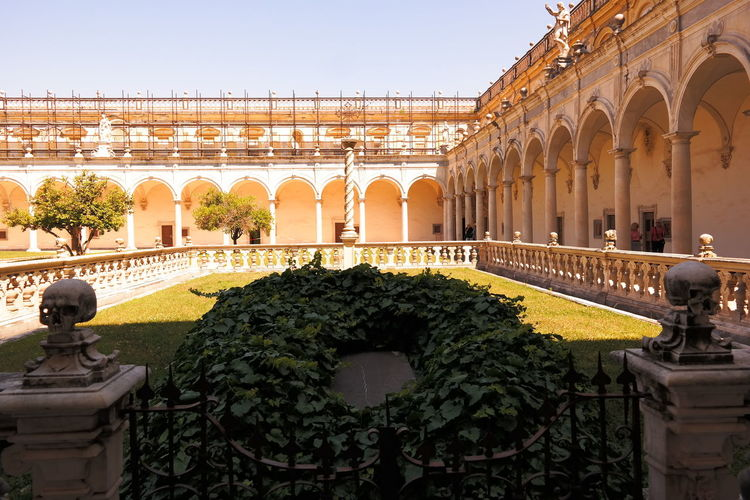 Plants On Grass In Courtyard Of Certosa E Museo Di San Martino