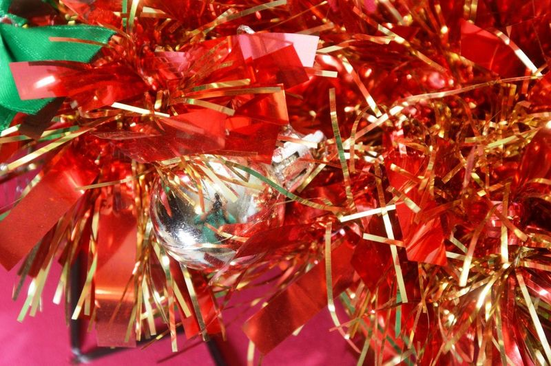 Close-up of christmas tree with red leaves