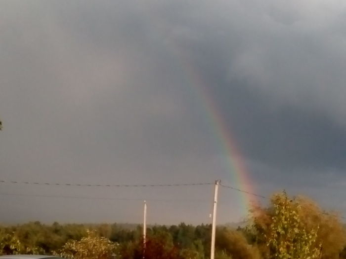 Rainbow Beauty In Nature Outdoors Power Line  Multi Colored rainbow