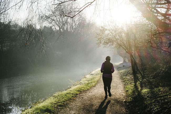 Running Back Close-up Hat Jogger Jogging Nature Running Shadow Sunshine Towpath Trees Vest Water Winter Yorkshire