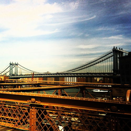 Architecture Bridge Bridge - Man Made Structure Brooklyn Bridge  Brooklyn Bridge / New York Building Exterior Built Structure City Connection Day Engineering No People NYC On The Bridge Outdoors Sky Streetphotography Transportation Travel Destinations