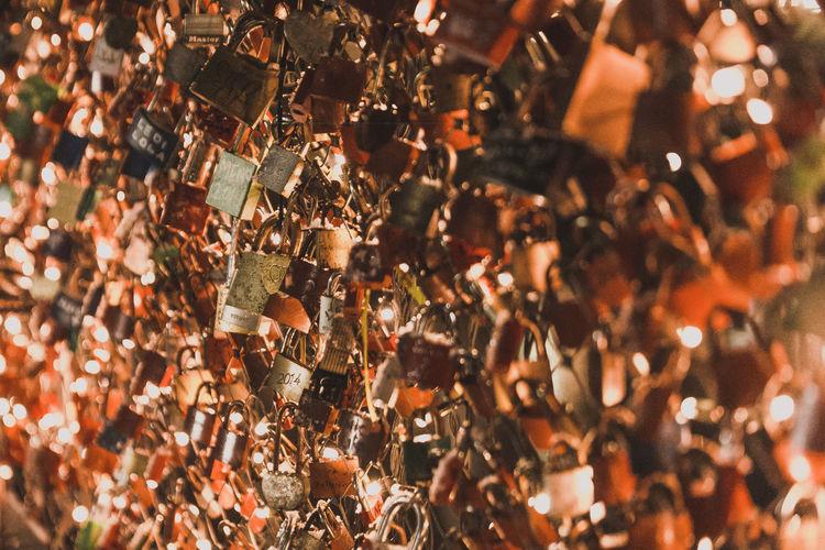 High angle view of padlocks