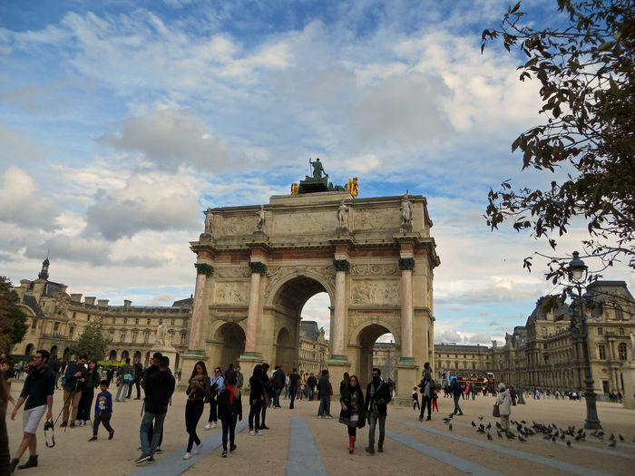 Carrousel Arc De Triomphe Paris Sunday Evening Arch Architecture Built Structure Cloud - Sky Evning History Large Group Of People Leisure Time Monument Outdoors Sky Strolling Through The City Tourism Travel Travel Destinations Triumphal Arch
