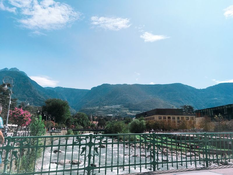 Mountain Railing Sky Mountain Range Day Outdoors No People Cloud - Sky Passer Architecture Nature Beauty In Nature Merano Meran Kurstadt Bridge View Town View Summer City View  Alto Adige Südtirol River River View Passeier Passeiertal