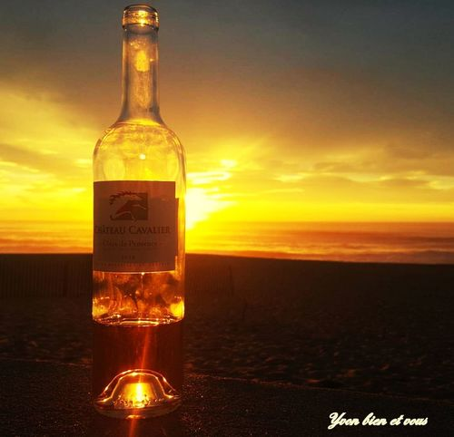 apéro sunset Sunset Nice Colors Summer Yvonbien Sea Sky France Biarritz Gold Colored Sun Nature South Of France Aquitaine Beach Aperitif Beach Bottle Drinking Glass Alcohol Sunset Drink Liquid Wine Bottle No People