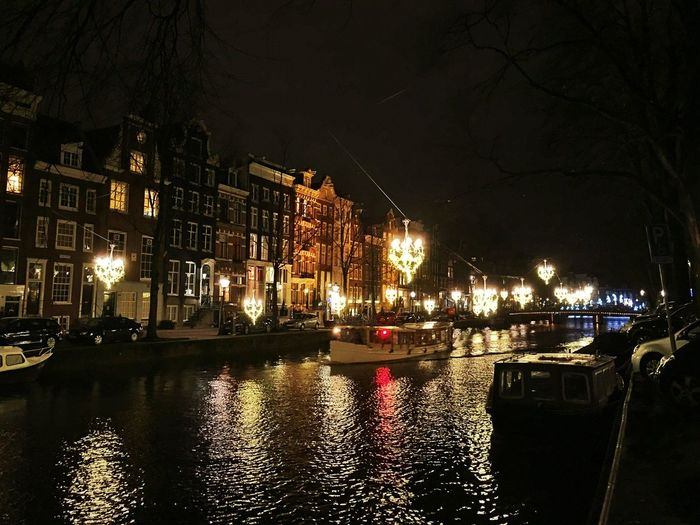 Amsterdam Amsterdamcity Architecture Beautiful Boat Building Exterior City City Citylife Gracht Grachten Holland Iamamsterdam Illuminated Nautical Vessel Netherlands Niederlande Night Nightshot Outdoors River Romantic Street Light Water Waterfront