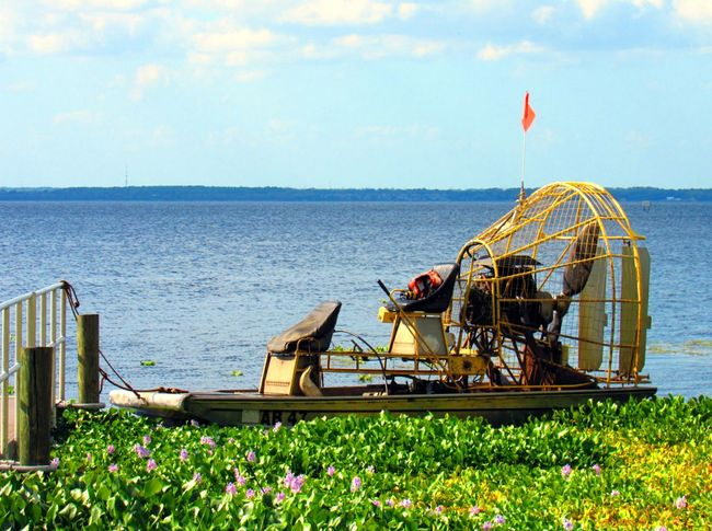 Airboat Boat Dock Riverside Riverscape Sky And Clouds Photography