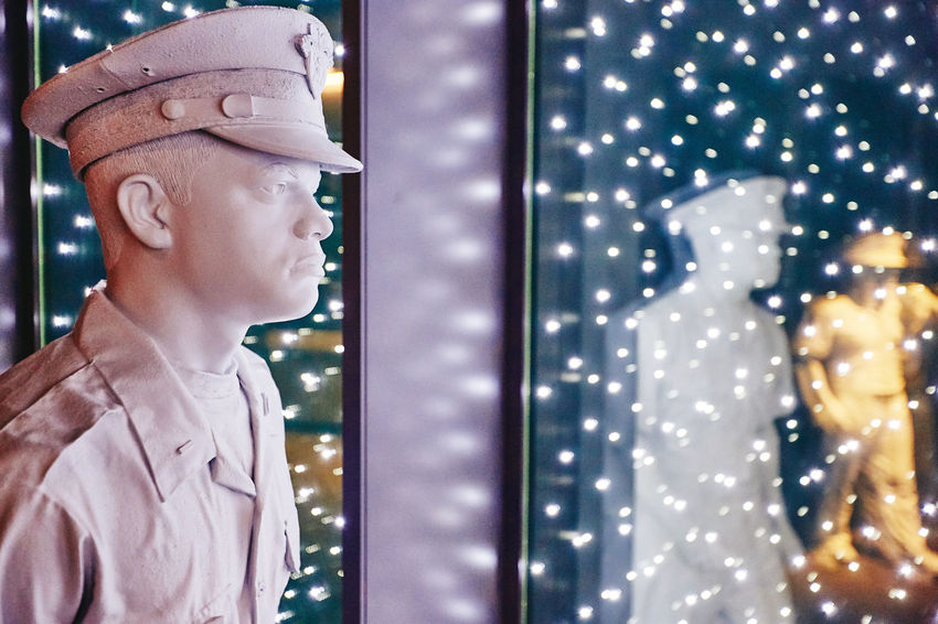 Vision. Light Lights Statue America Army Cap Hat Human Representation Innocence Lifestyles Looking Looking Away Males  Military One Person West Point