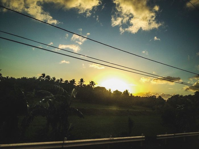 Sunset #sun #clouds #skylovers #sky #nature #beautifulinnature #naturalbeauty #photography #landscape Albay Sky Sunset Plant Cable Tree Cloud - Sky Nature Electricity  Power Line  Beauty In Nature Connection No People Tranquility Silhouette Sunlight Sun Scenics - Nature Transportation Outdoors Technology