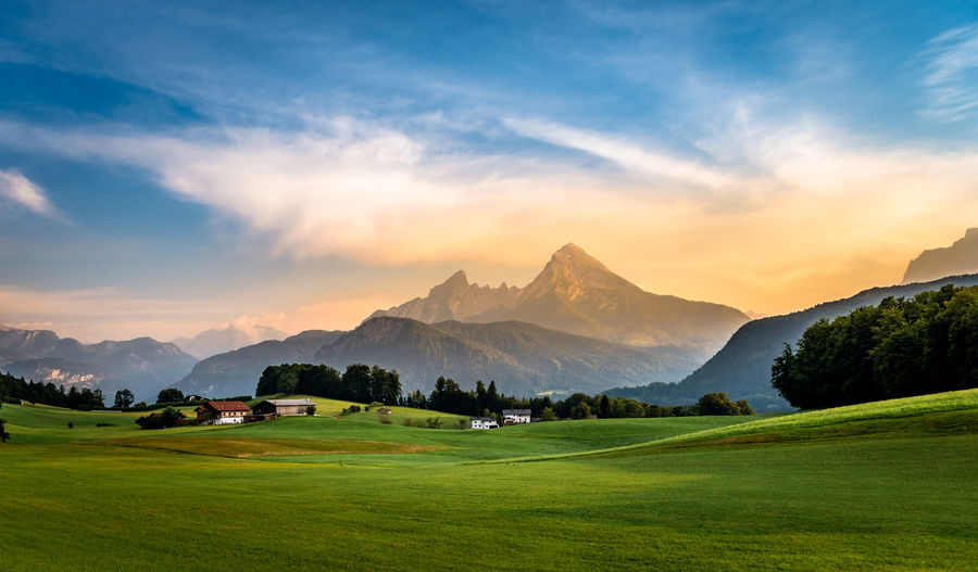 Sunset in the Mountains Germany Alps Bavaria Bavarian Alps Europe Travel Sunset Sunset Collection Pasture Field Berchtesgaden Tree Mountain Sunset Fog Mountain Peak Panoramic Flower Rural Scene Sky Grass Valley Farmland Snowcapped Mountain Snowcapped Mountain Range Rocky Mountains Hiker