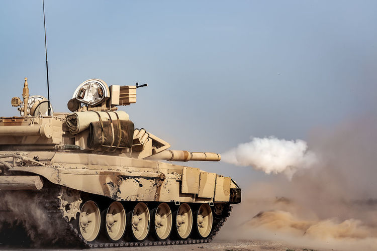 Tank Russian Tank Syria  T90 Armed Forces Armored Tank Fighting Military Mode Of Transportation Nature No People Outdoors Pollution Sky Smoke - Physical Structure Tank Train Train - Vehicle Transportation War