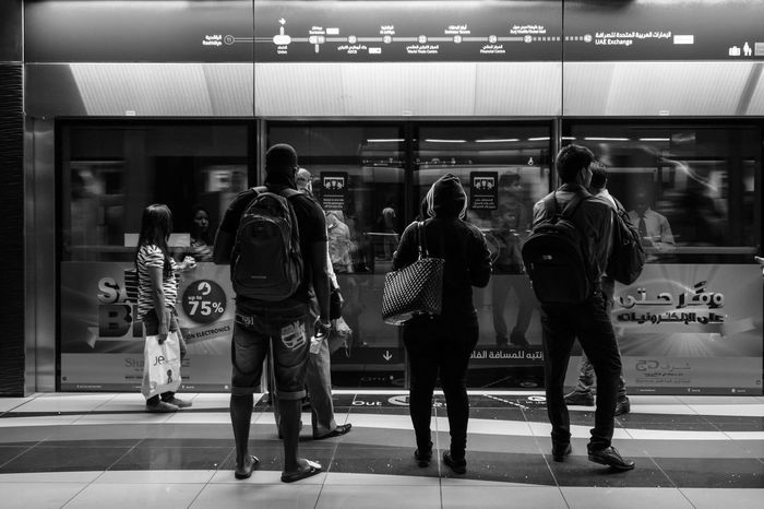 Black And White Photography Blackandwhite Blackandwhite Photography Indoors  Lifestyles People Public Transportation Real People Standing Subway Station Togetherness Transportation