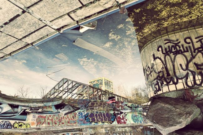 A nice Reflection in the outside pool of the former Blub water park. Abandoned Abandoned & Derelict Abandoned Buildings Abandoned Places Berliner Ansichten Home Is Where The Art Is Day Derelict Ehem. Blub Badeparadies EyeEm Abandoned EyeEm_abandonment Low Angle View My Fuckin Berlin NEM Derelict Neulich In Neukölln Berlin: Abandoned Outdoors Reflected Glory Reflection_collection Ruined Upside Down Verlassene Orte Water Reflections