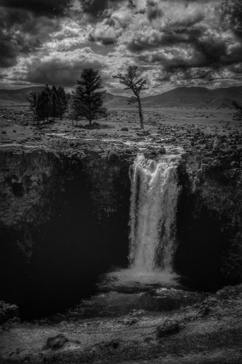 Black And White Mongolia Монгол улс Steppe Outdoors Day Ulaan Khurkhree Beauty In Nature Landscape Orkhon River улаан хүрхрээ Orkhon Valley Waterfall Tree Water Power In Nature Sky Cloud - Sky Scenics Non-urban Scene Remote Countryside Tranquil Scene Idyllic Rushing