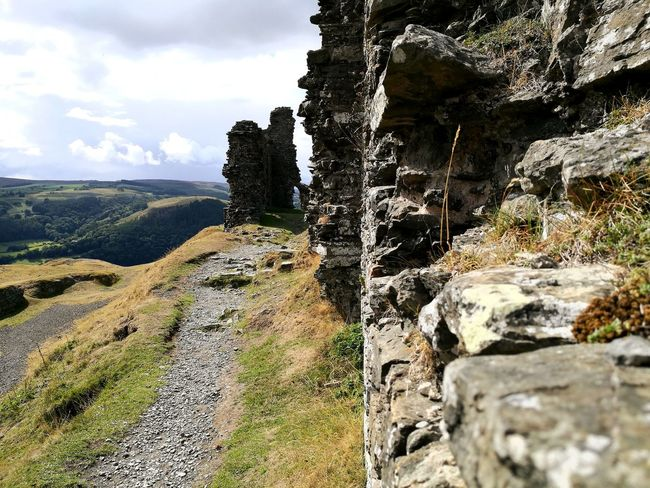 Wales Castle Ruin Focal Length For Ground Aspect Point Of View Low Angle View Fort EyeEm Best Shots Castle Ruin Dinas Bran Ruined Wall Castle Walls Lanscape Photography Mountain Sky Landscape Cloud - Sky