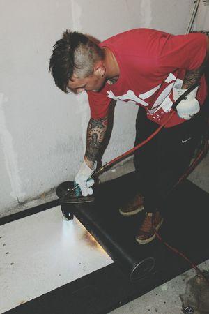 Working Flame Flames Flames & Fire Flamethrower Burn Burner Burners Work Roof Tattoo Tattoos Tattooed Tattoo ❤ Roofer Roofing Mohawk Mohican Man Tattooedmen